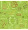 Seamless pattern with doodle menu elements vector image