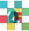 calendar 2015 square colorful vector image