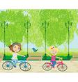 Children biking in the park vector image