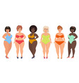 cartoon beautiful plus size curved women in vector image