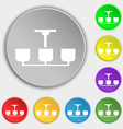 Chandelier Light Lamp icon sign Symbols on eight vector image