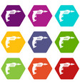 drill icon set color hexahedron vector image