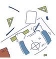 hands making blueprint design workplace desk top vector image