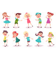 kids or children boy and girl dancing and playing vector image