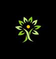 people green tree organic logo vector image