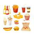 set of delicious food sauces drinks fast food vector image