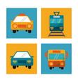 set transport vehicle travel vacation vector image