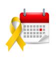 Yellow awareness ribbon and calendar vector image