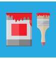 Metal tin can with red paint and paintbrush vector image