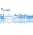 Outline Brussels Skyline with Blue Buildings vector image