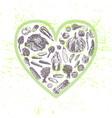 Ink hand drawn veggies in heart shape vector image