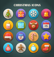 Round Bright Icons with Long Shadow - Christmas vector image