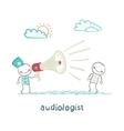 otolaryngologist yells into a megaphone on patient vector image