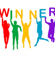 Winner concept with people silhouettes jumping vector image