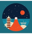 Japan travel background Pagoda Torii Mountain Fuji vector image