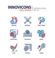 ball games - modern line design icons set vector image