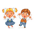 boys and girls grimace at the camera vector image