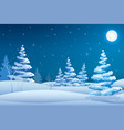 fairy night winter landscape template vector image