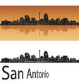 San Antonio skyline in orange background vector image