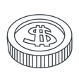 single coin icon vector image