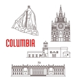 Tourist landmarks and architecture of Colombia vector image