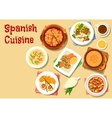 Spanish cuisine seafood dishes icon vector image