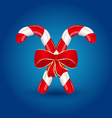 Christmas candy canes with red bow isolated vector image vector image