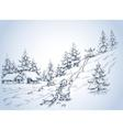 Winter background children at play in the snow vector image vector image