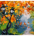 cartoon street lights in the autumn park vector image