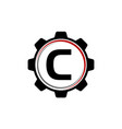 Gear solution logo letter c vector image
