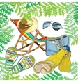 pattern summer e recliner on the sand with hat vector image