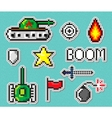 Pixel art objects to create Fashion patch vector image