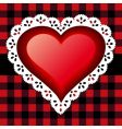 red lace heart vector image