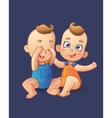 Twins cartoon baby boys playing each other vector image