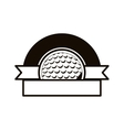 gray scale emblem half with golf ball and ribbon vector image