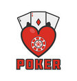 poker emblem with cards vector image