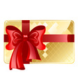 gold card with a red ribbon vector image vector image