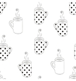 Monochrome seamless pattern with sketching cups vector image