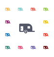 trailer flat icons set vector image