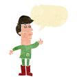 cartoon nervous man with speech bubble vector image
