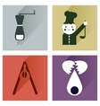Set flat icons with long shadow chefs tools vector image