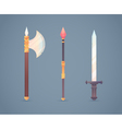 Fantasy medieval cold weapon set in flat-style des vector image