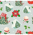 Green Red Holiday Gingerbread Houses vector image