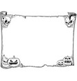 halloween frame old scroll sheet with skulls and vector image