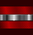 Red metal perforated background with iron plate vector image
