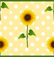 sunflower on white polka dots yellow background vector image