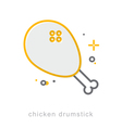 Thin line icons Chicken Drumstick vector image
