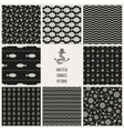 Set of 8 seamless nautical patterns vector image