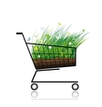 Spring grass in shopping cart for your design vector image vector image