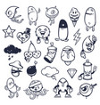 doodle graffiti monsters set vector image vector image